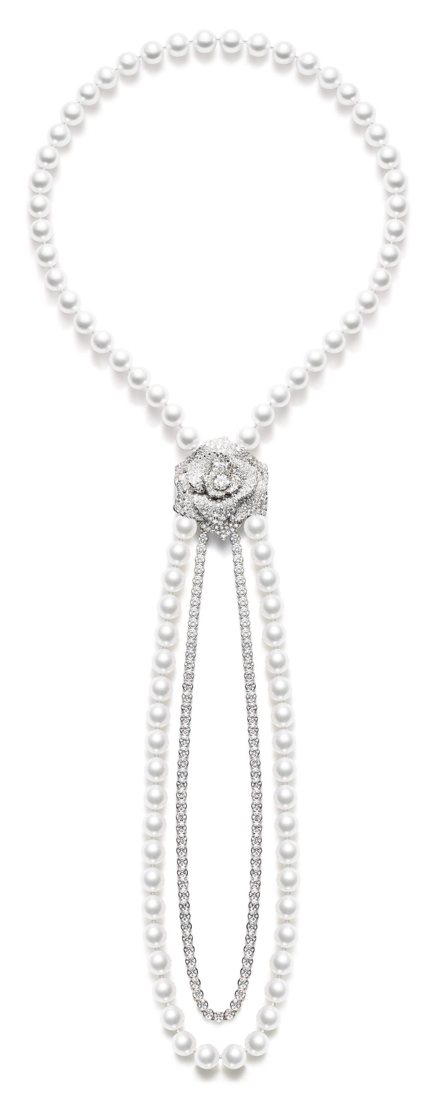 Piaget 18K White Gold Rose Necklace with Diamonds & Pearls LzFPhp