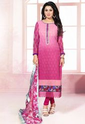 Shaded Pink Faux Georgette Churidar Kameez
