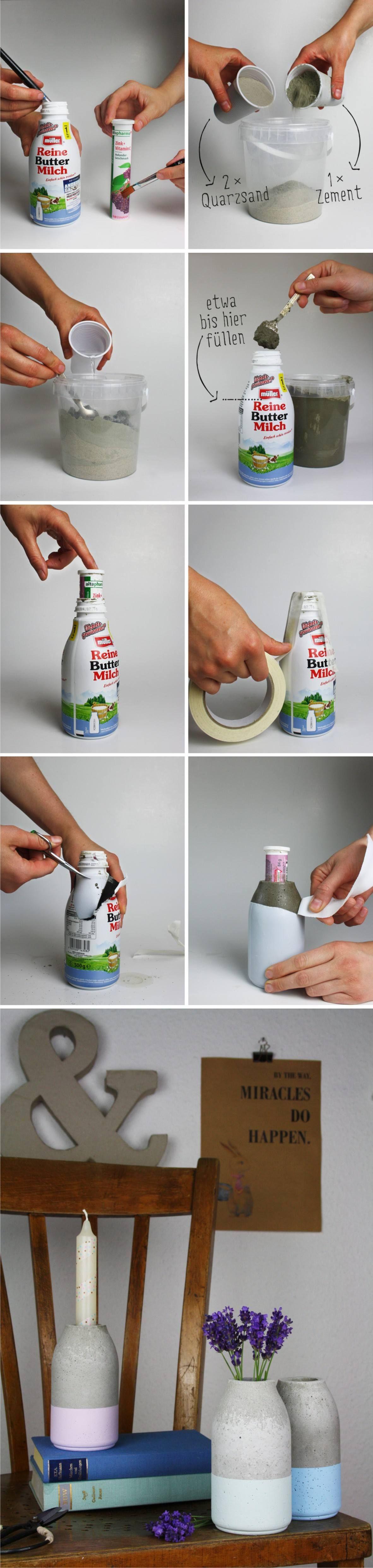Easy Diy Minimalist Concrete Vase   Hallo Piepmatz.de   Florero DIY Hormigón