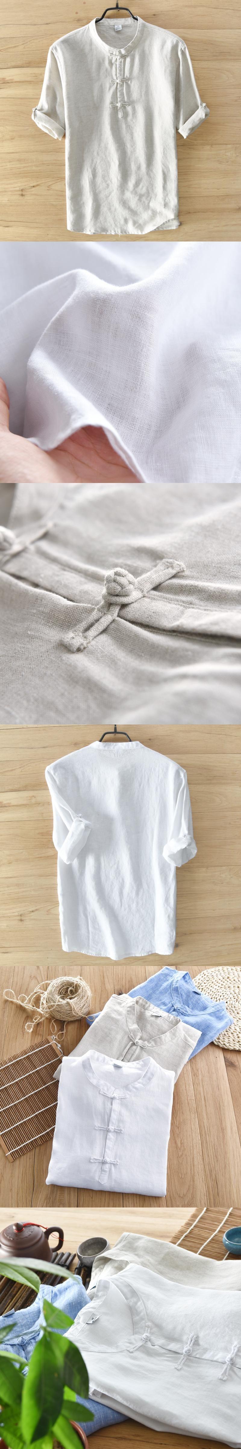 3c984147f5 Brand linen shirt men short sleeve pure flax men shirts Italy business  casual mens shirt fashion