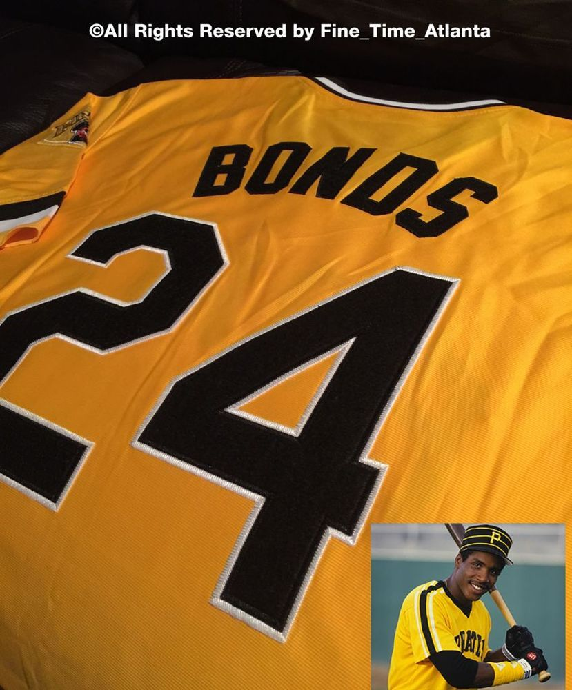 uk availability 4b4a9 dd566 barry bonds 1980's pittsburgh pirates yellow throwback ...
