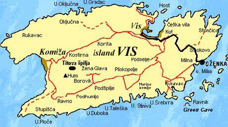 Vis Island Map Island of Vis Croatia on the Adriatic Sea | Tuchman Beaches Guide