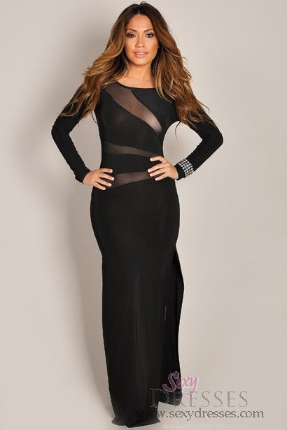 81a50555b03cf Sexy Chic Black Long Sleeve Mesh Maxi Dress | Ohhh that dress ...
