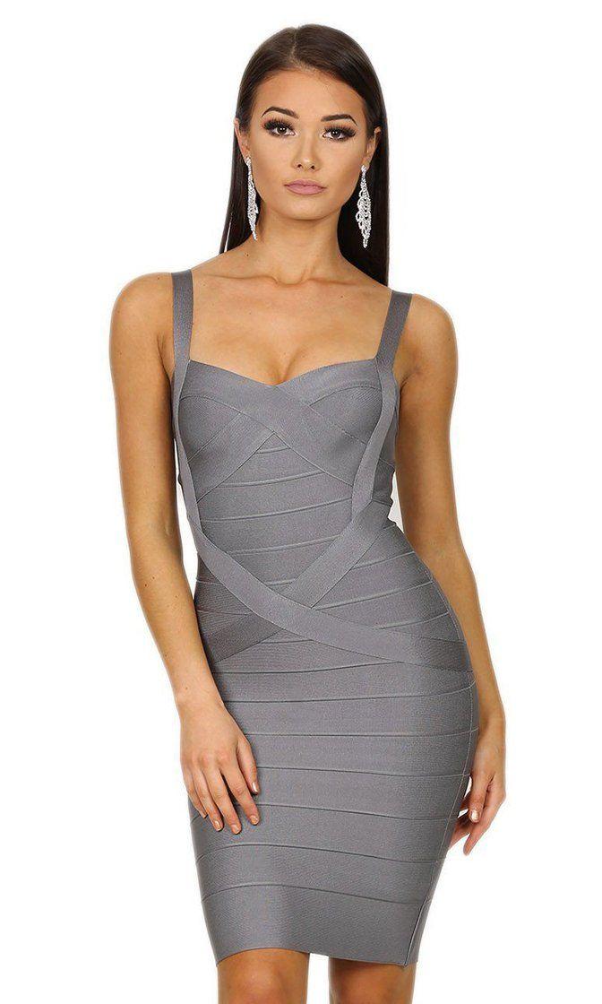 Gunmetal grey high neck geometric bodycon dress