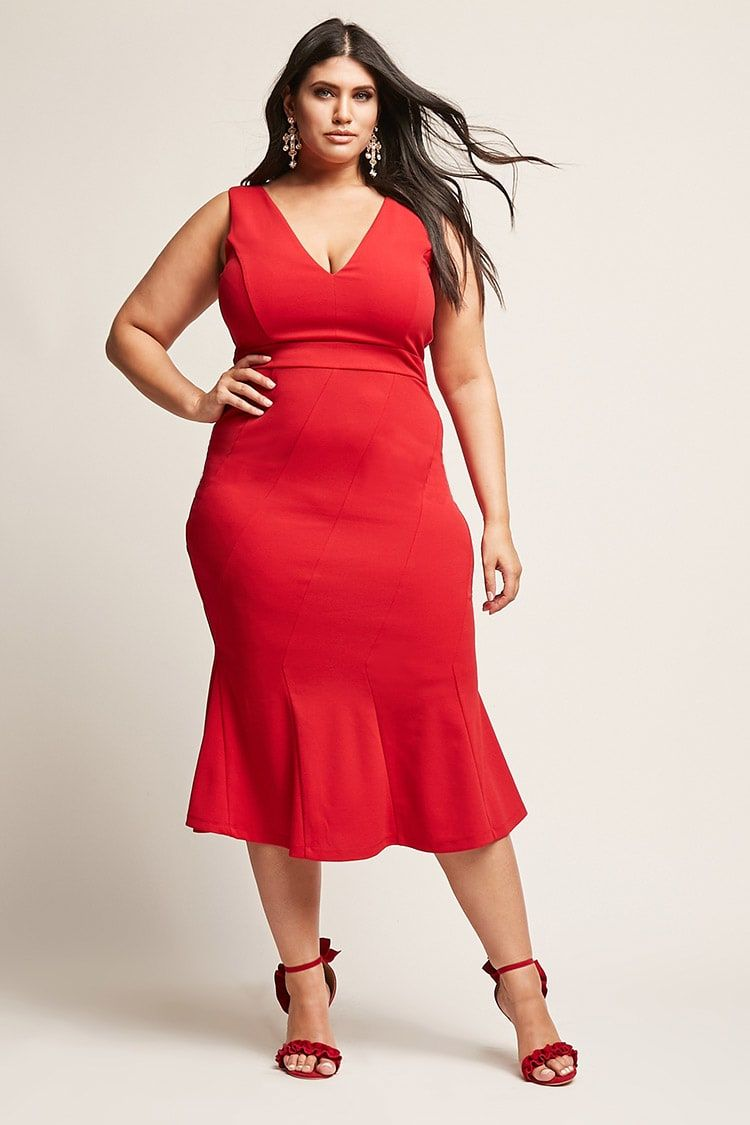 Plus size vneck mermaid dress in outfits pinterest
