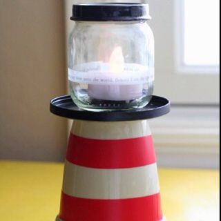 Simple Lighthouse Craft Old Baby Food Jars And Small Flower Pots