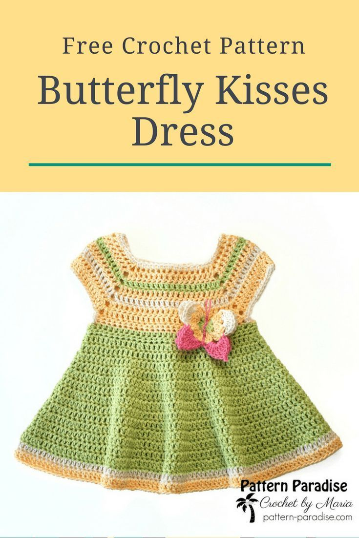 Free Crochet Pattern: Butterfly Kisses Dress | Classic dresses ...