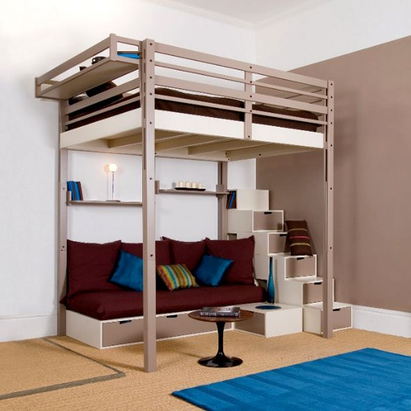 Queen loft beds for adults modern queen loft for Bedroom loft plans