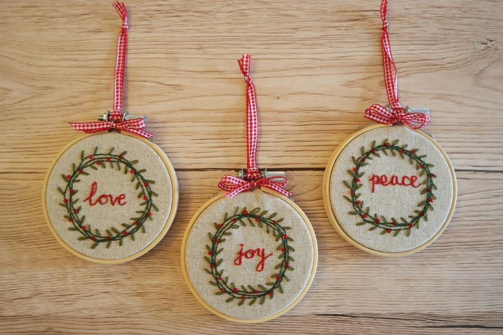 Vintage Christmas Wreath Beaded Embroidered Ornaments Handmade Christmas Ornaments Sewn Christmas Ornaments Handmade Christmas