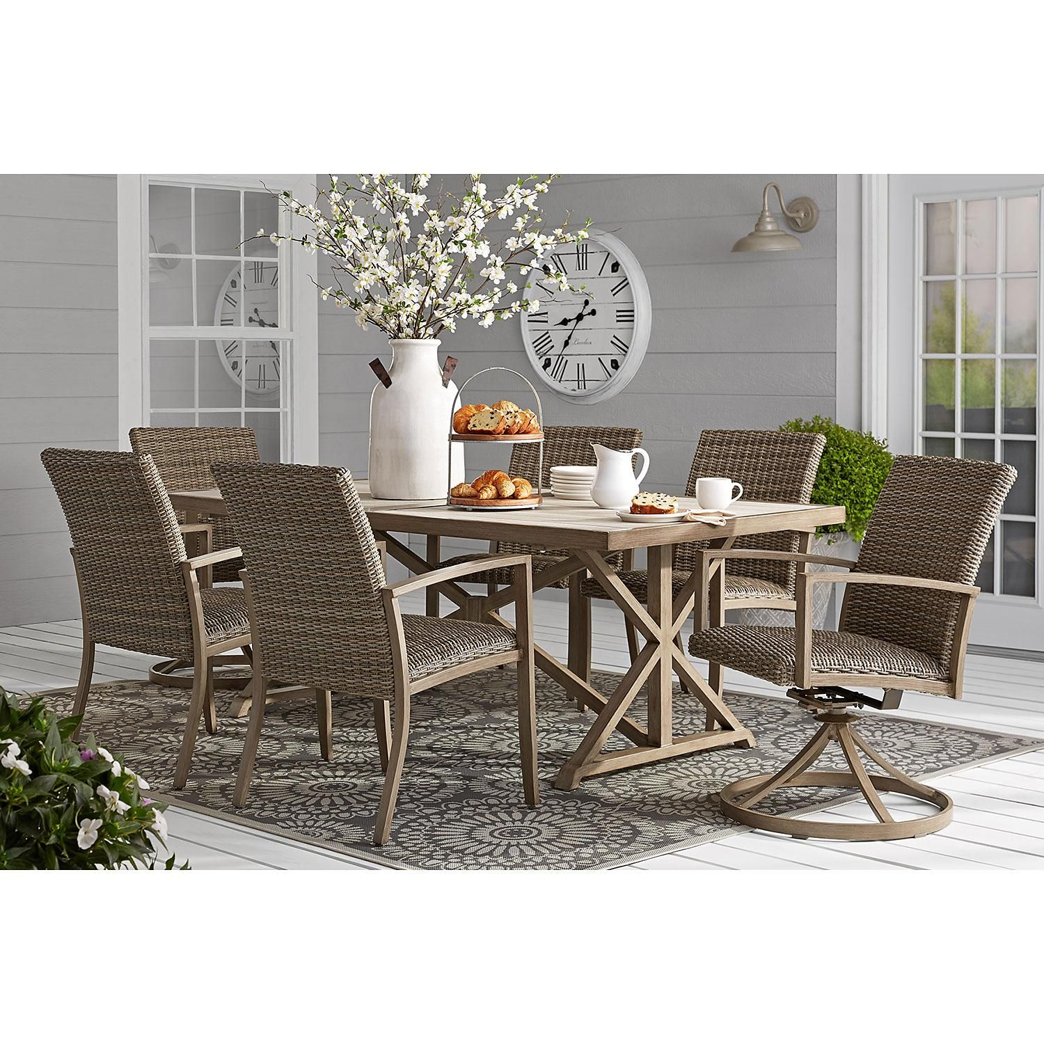 Member S Mark Harbor Hill 7 Piece Cushion Dining Set In 2020