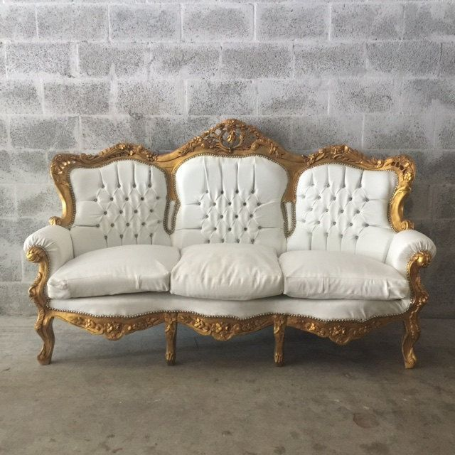 ANTIQUE FRENCH LOUIS XVI SOFA SETTEE COUCH ORIGINAL GOLD LEAF GILD FRAME WHITE LEATHER SOLID WOOD CARVED CAPITONE TUFTED ROCOCO BAROQUE