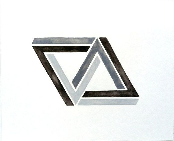 Linked 3d penrose impossible triangle geometric art for Geometric illusion art