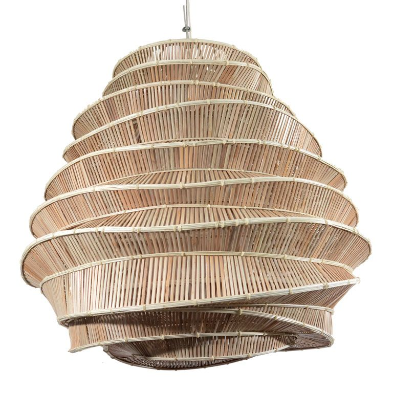 "Rattan Zwiebel Thai Whitewash Bamboo ""bee Hive"" Light 