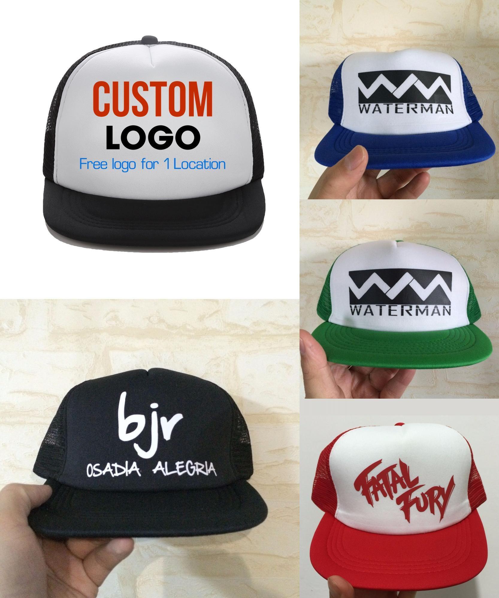 f6bb387c5e779  Visit to Buy  Custom Trucker Hat Flat Bill Visor Free Logo Men Women Summer
