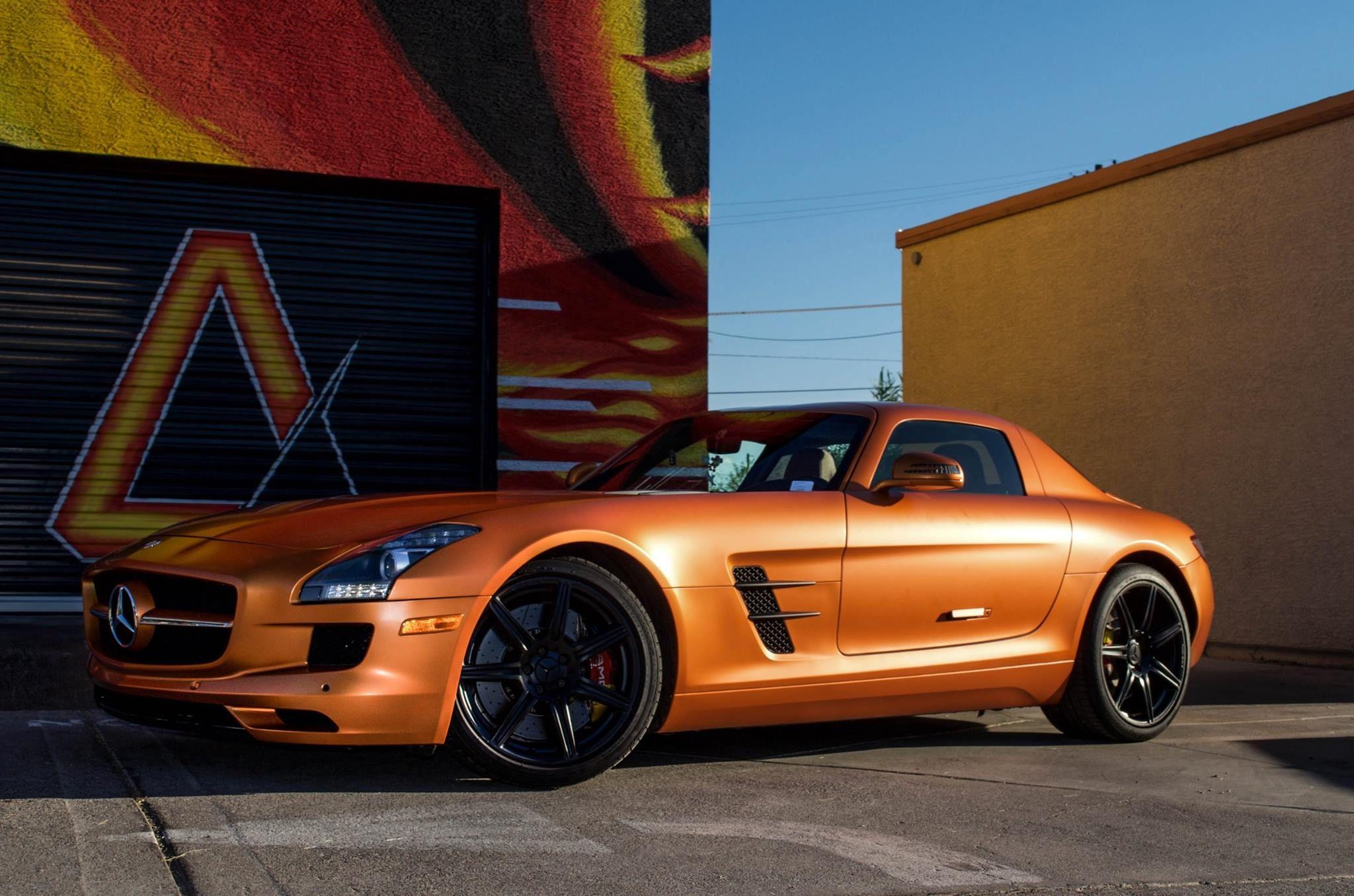 Mercedes SLS AMG 3M Satin Canyon Copper Orange Matte Black Vents ...