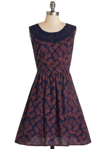 Frond to You Dress. I knew youd wear that!, your pal exclaims as you walk through the doors in this navy dress by Mata Traders. #gold #prom #modcloth