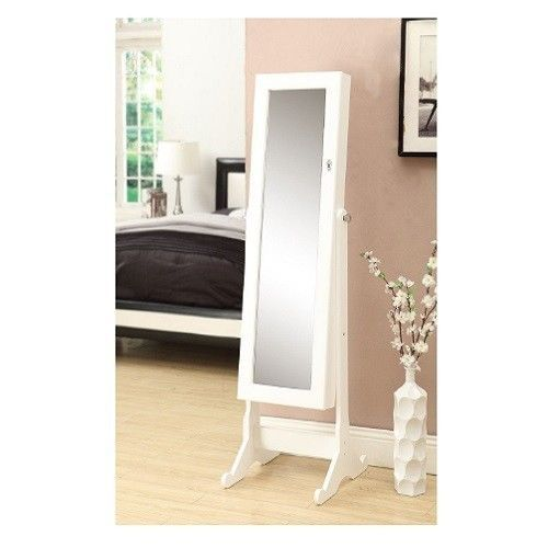 White Standing Mirror Jewelry Armoire Cabinet Storage Necklace