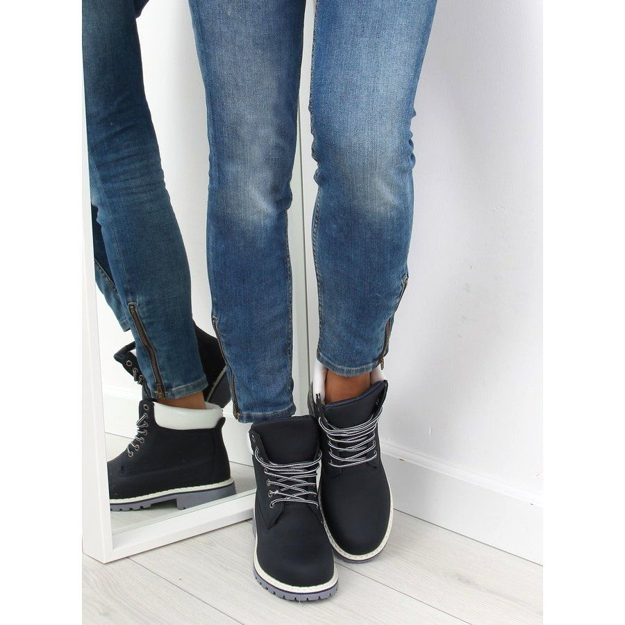 Timberki Damskie Ocieplane Granatowe Navy Skinny Jeans Ripped Jean Fashion