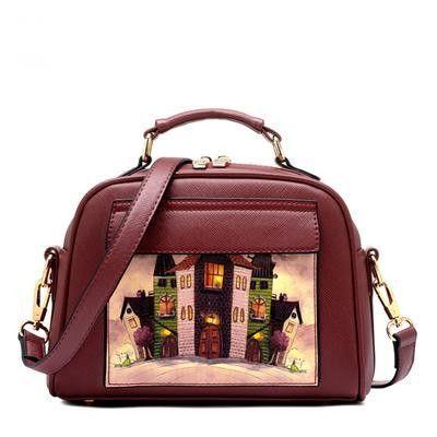 Beaumais Pu Leather Women Handbag Famous Brand Messenger Bags Shoulder Bag Pouch Printing