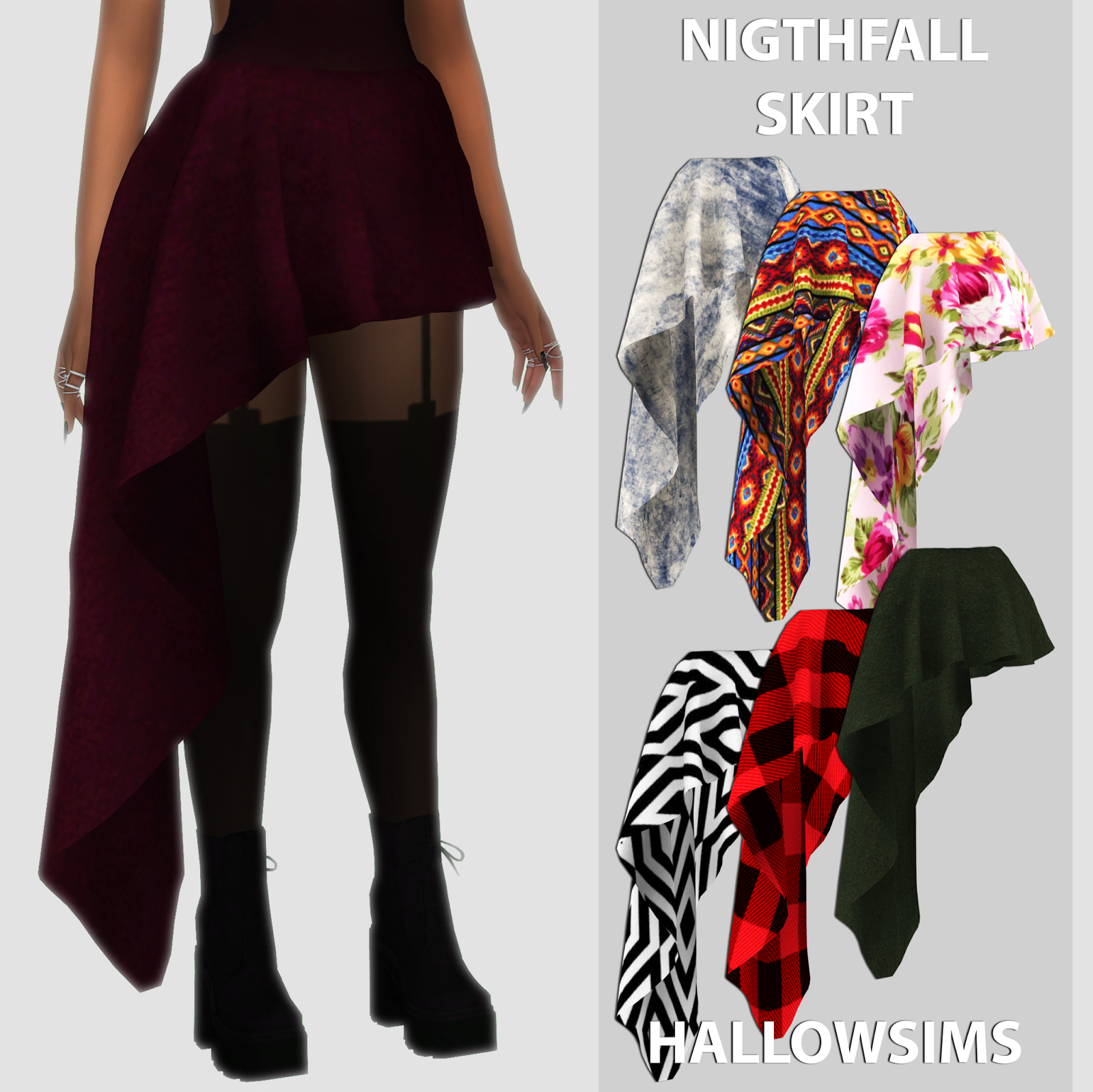 Nightfall Skirt HallowSims Sims 4 dresses, Sims 4 cc