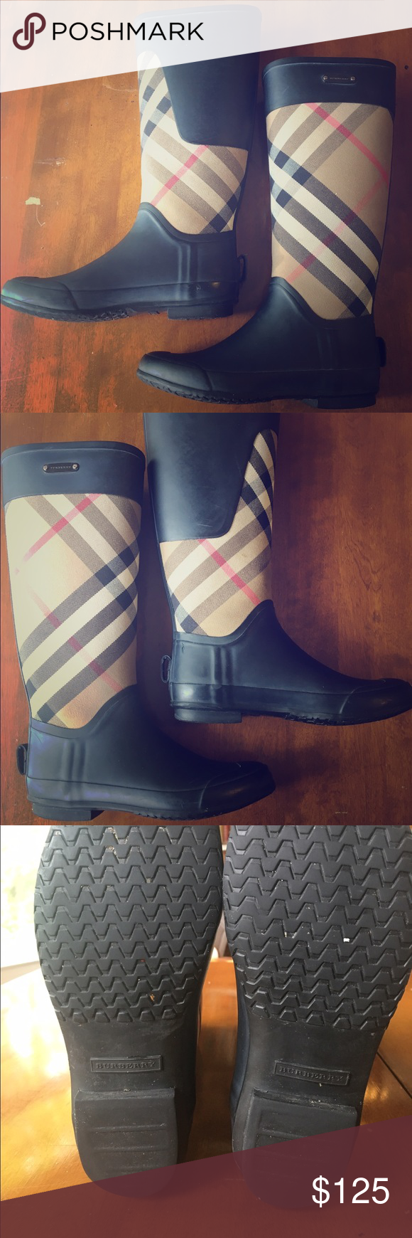 Burberry Rain Boots Clemence House Check size 38 Awesome boots! These are 100% authentic Burberry Rain boots. Wardrobe staple! These boots do have some wear on them, overall condition is 7/10. They have tons of life left in them though! Super durable and great quality! Burberry Shoes Winter & Rain Boots
