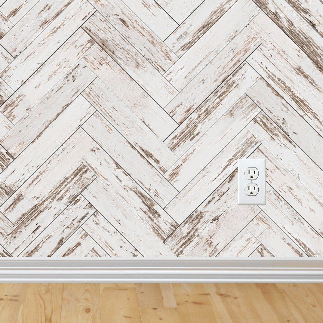 Herringbone Wallpaper Peel And Stick Wallpaper Removable Etsy Herringbone Wallpaper Farmhouse Wallpaper Distressed Wood Wallpaper