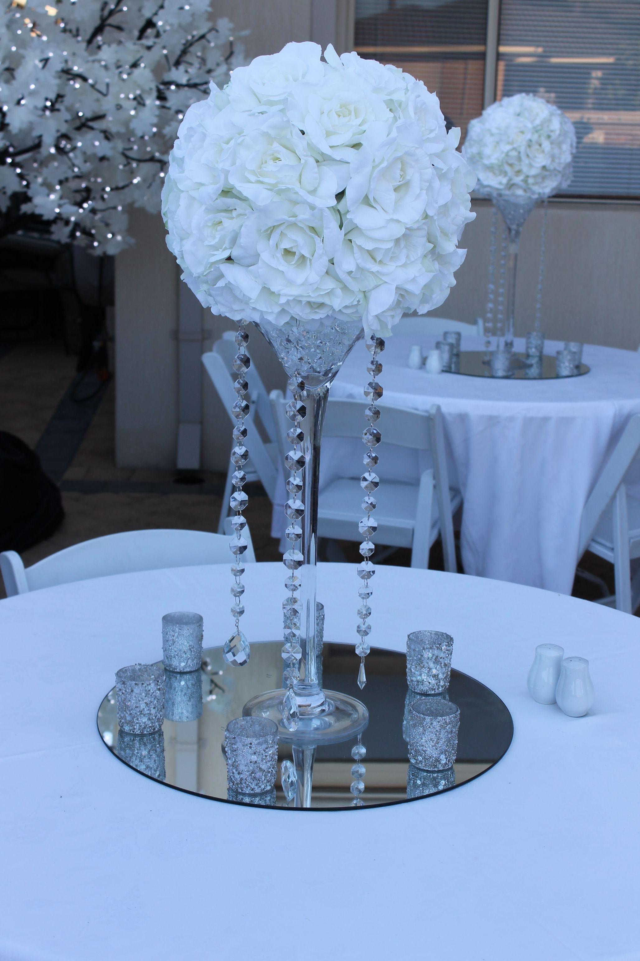 Silk Rose Kissing Ball Centerpiece Hire With Crystal Strands