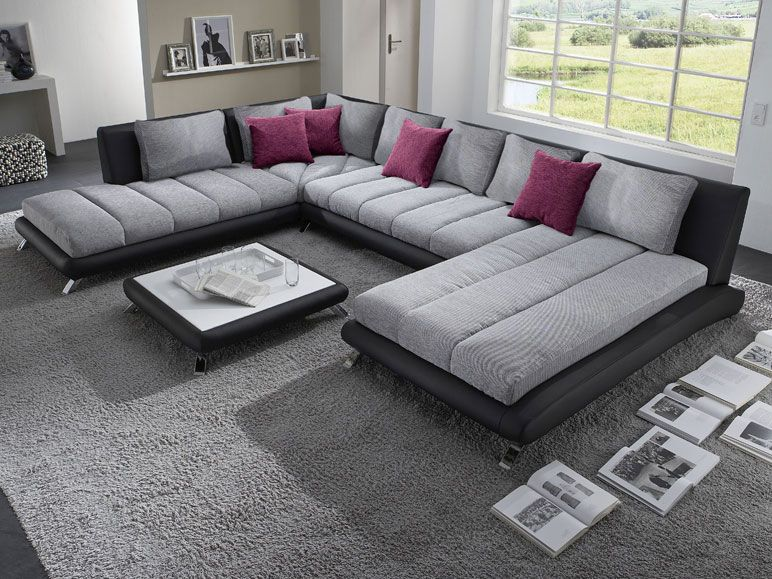 canap d 39 angle en pu noir et tissu gris duccio 5 salon. Black Bedroom Furniture Sets. Home Design Ideas