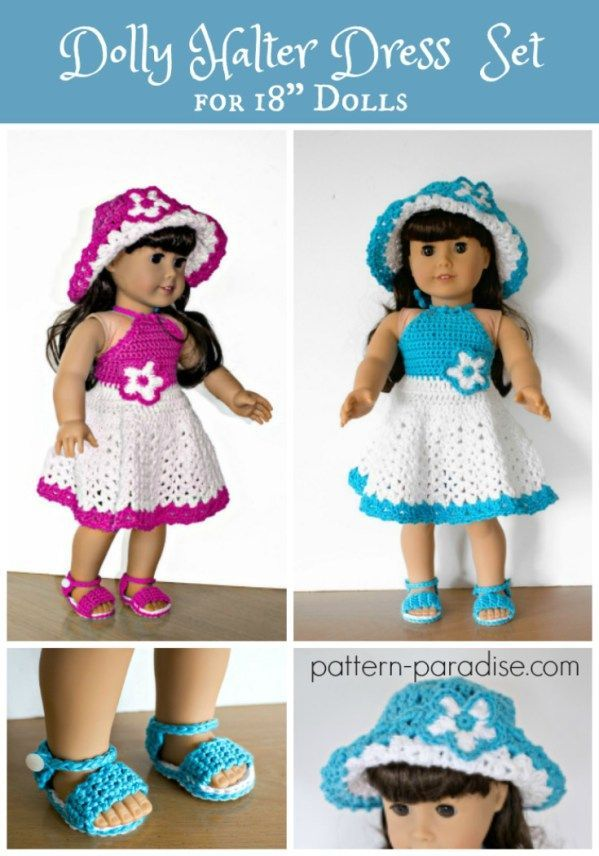 Crochet Pattern: Dolly Halter Dress Set | Pinterest | Muñecas ...