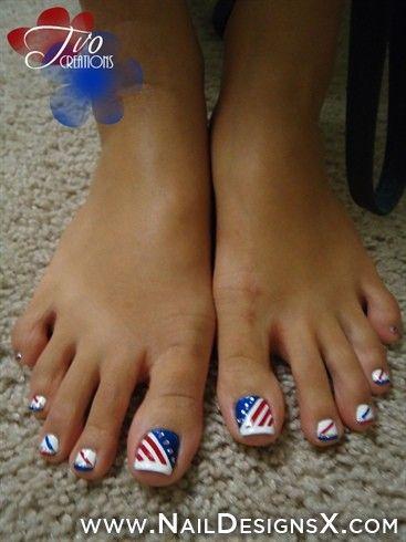 4th July Toe Nail Art Patriotic Nails Toe Nail Designs Toe Nails