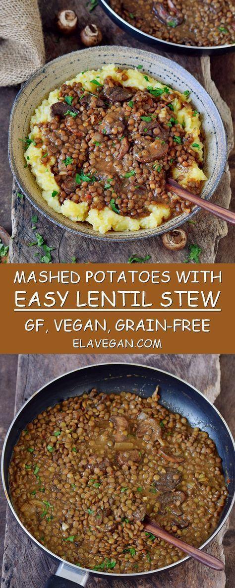 Einfacher Linseneintopf mit Kartoffelpüree. Dieses Rezept ist ein großartiges #easycomfortfood