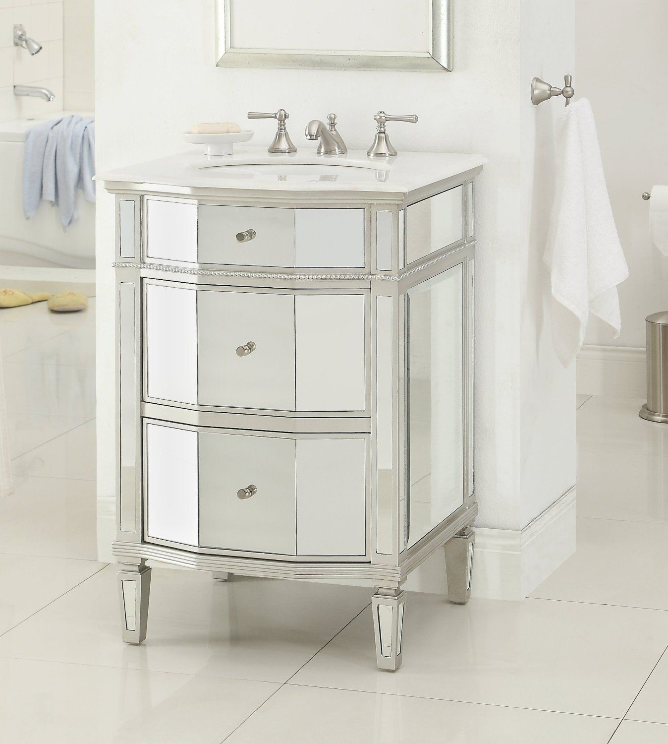 Adelina 24 inch Mirrored Bathroom Vanity, Imperial White marble counter  top, White under mount