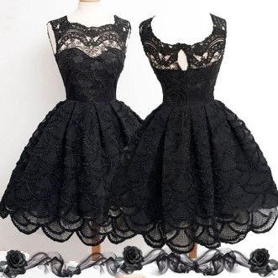 Black lace simple modest vintage freshman homecoming prom dresses