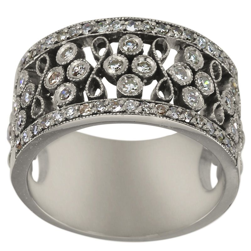 Diamond Band In 14k White Gold Featuring A Victorian Style With ...