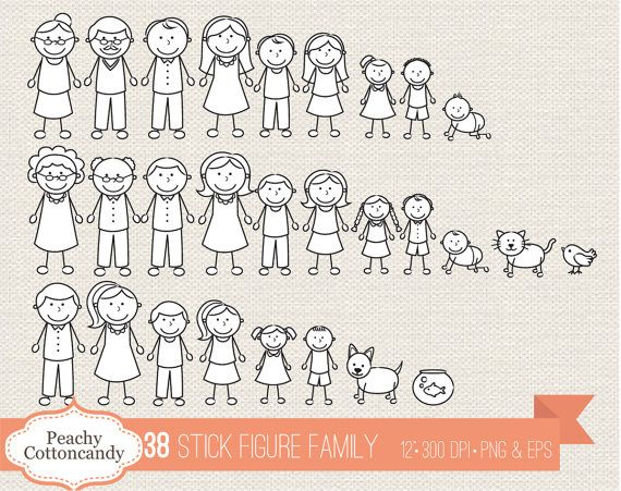 Buy 2 Get 1 Free Mega Bundle Stick Figure Family Clipart Stick Figure Family Stick Figures Stick Figure Drawing