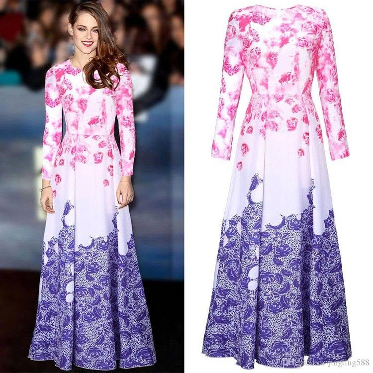 Amaranth color block maxi dress