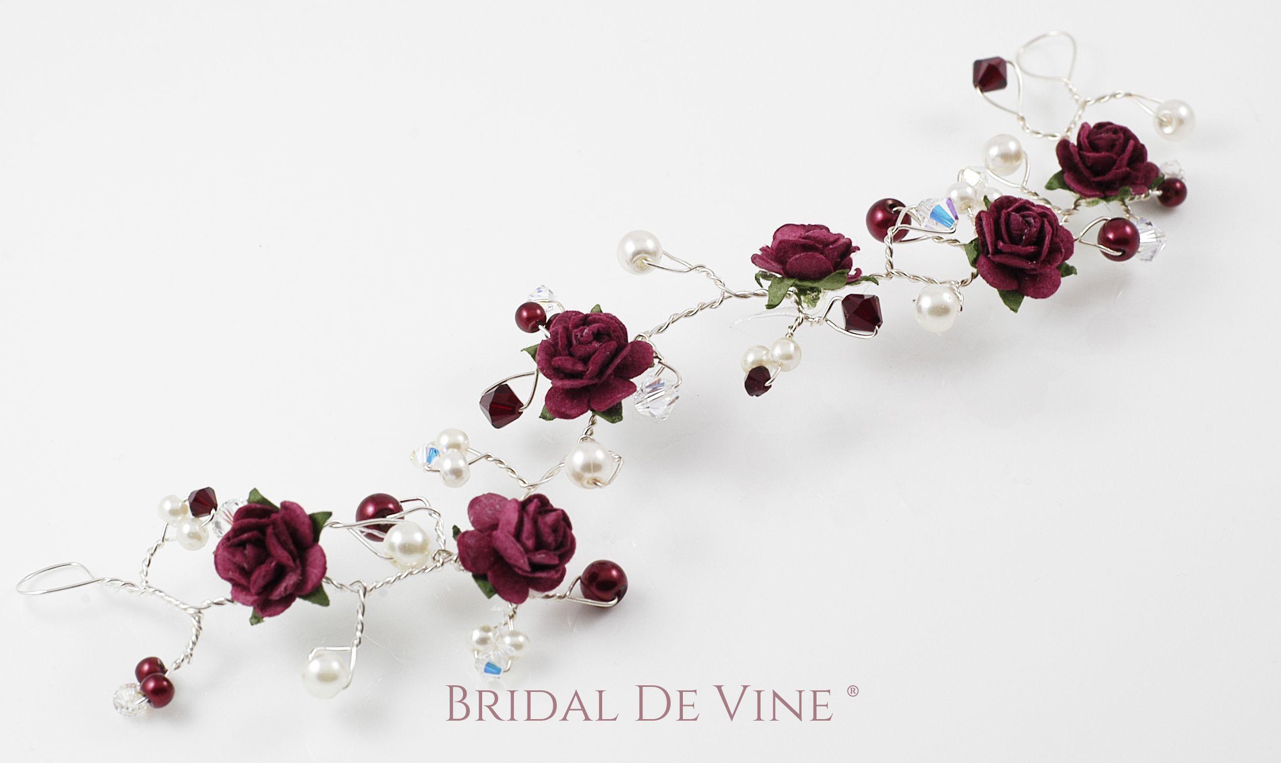 Burgundy dark red hair piece mulberry roses flower hair