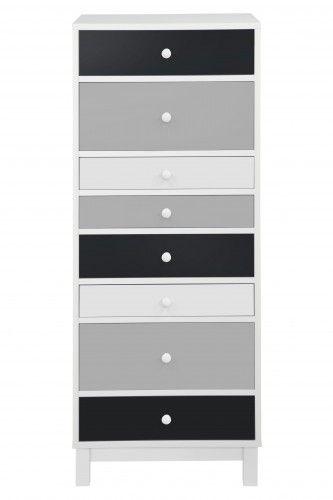 Dulap cu 8 sertare Sparrow White/Black/Grey