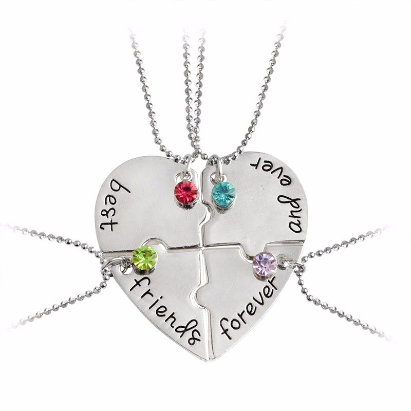814b53f3d8efc 4 pieces heart shape best friends forever and ever necklace bff ...