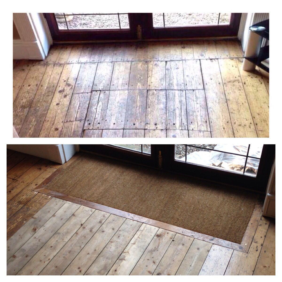 Floorboards restored with sunken floor mat well front