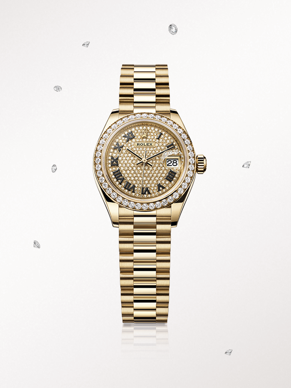 Rolex Lady Datejust 28 Rose Gold Watches Rolex Watches Pave Diamonds