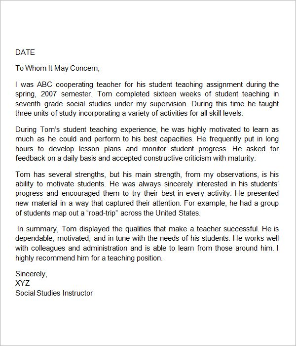 Sample Letter Of Recommendation For Teacher Teacher Letter