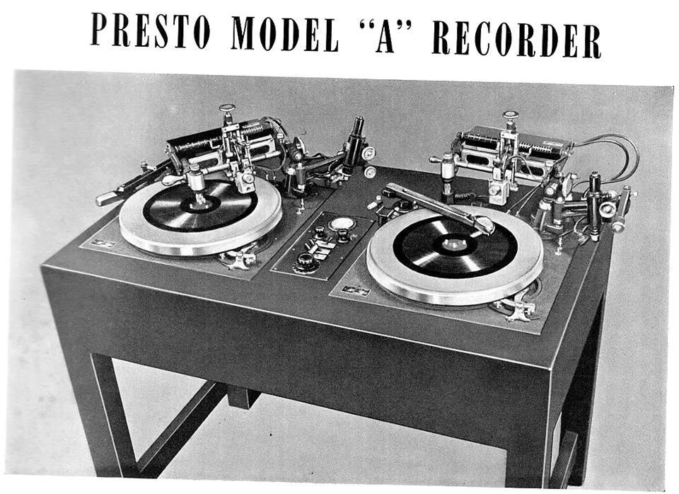 PRESTO RECORDING CORP Model A, their top-of-the-line recording system circa 1940. Presto Recording Corp was a pioneer of coated-disc 'Instantaneous Recording.' From 1933 through the end of WWII, Presto was the US leader in providing high-quality recording equipment to broadcasters, schools, studios, and government. http://www.preservationsound.com/?p=3162
