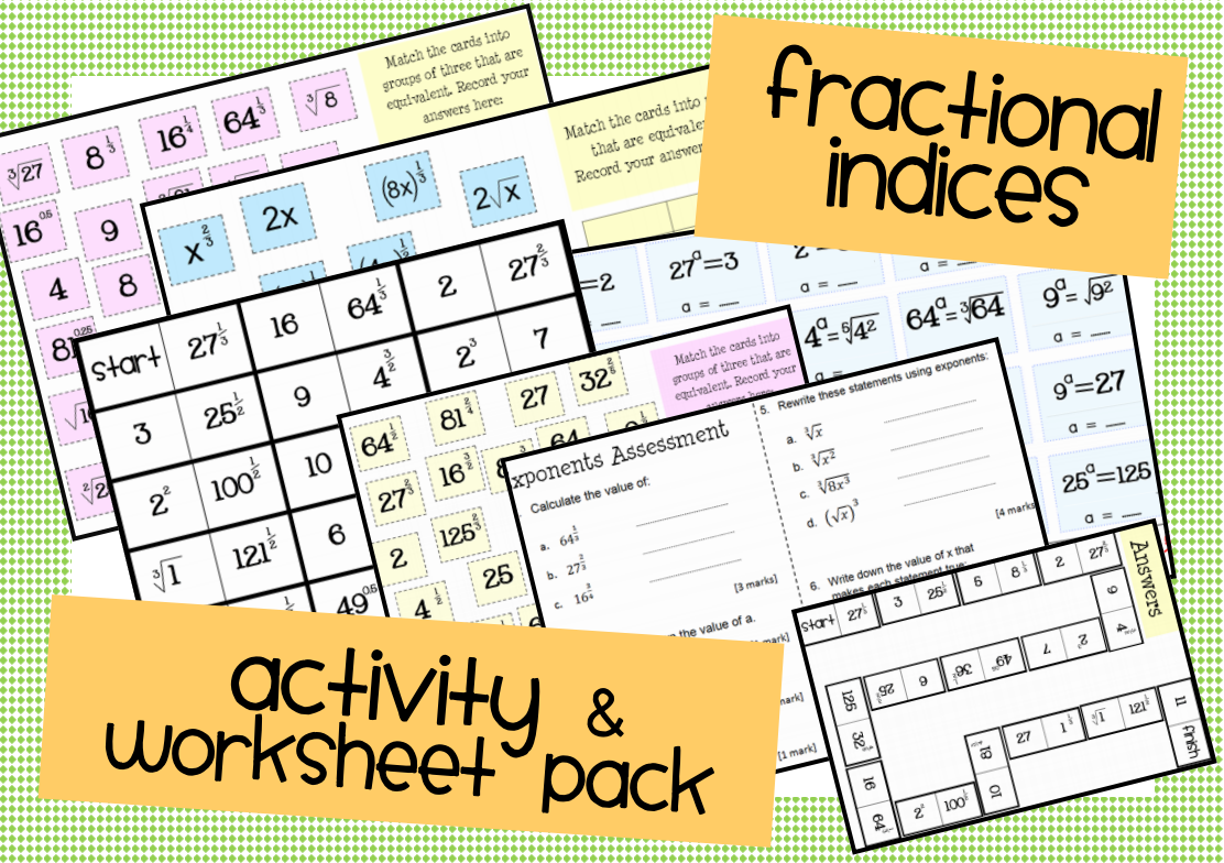 fractional indices worksheet and activity pack Math