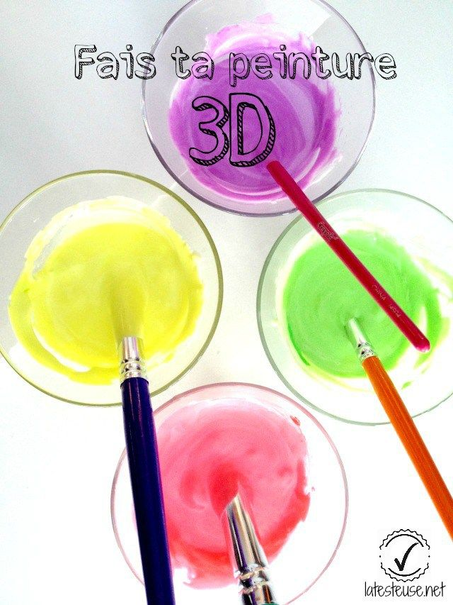 fais ta peinture 3d recette bricolage enfant diy bricolage et crafts. Black Bedroom Furniture Sets. Home Design Ideas