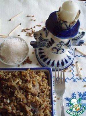 Гречка с грибами, яйцами и луком
