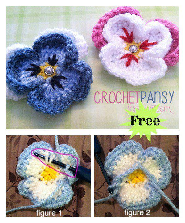 Pansy Flower Free Crochet Pattern | Patrón gratis, Cosas lindas y ...