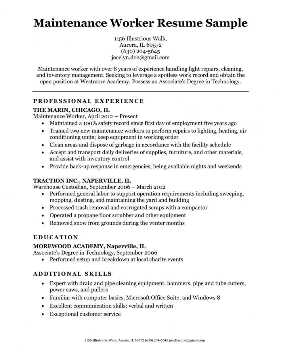 Get Our Sample Of Building Maintenance Job Description Template For Free Basic Resume Examples Good Resume Examples Resume Examples
