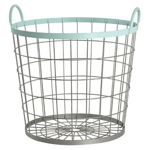 Elegant For Stuffed Animals: Large Round Wire Basket   Bleached Aqua   Circo™