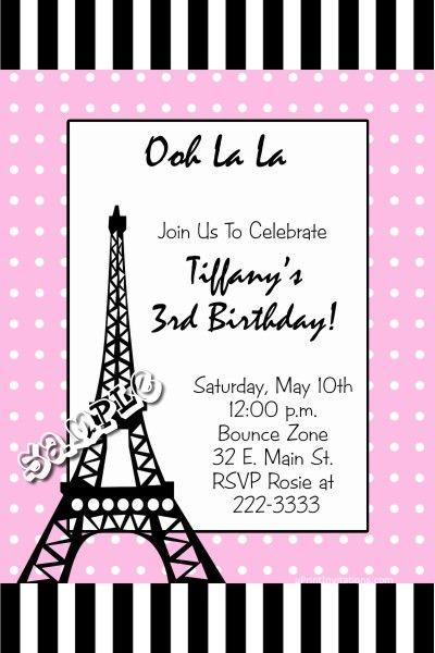 Eiffel Tower Birthday Invitations